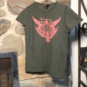 Diesel vintage T-shirt dark green, pink writing. S